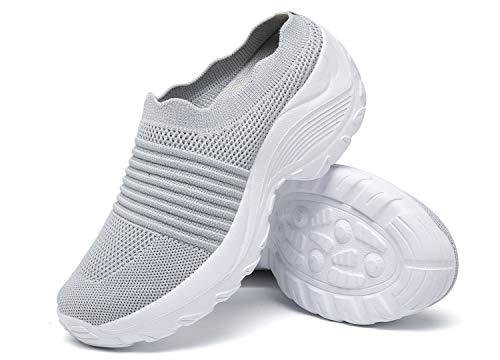 Zuecos de Cuña Mujer Transpirable Sandalias Plataforma Cómodo Ligero Casual Zapatillas para Caminar al Aire Libre,Gris,EU 39