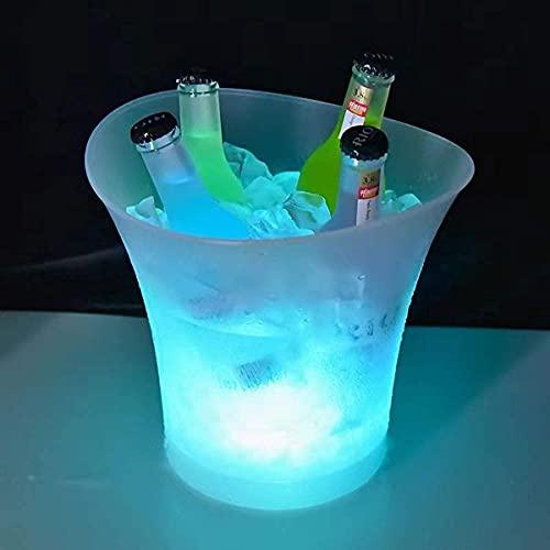 Secchiello Ghiaccio LED, 5L LED Secchiello Ghiaccio, Secchiello per Il Ghiaccio per Vino E Champagne, per Feste, Casa, Bar Club a Tema Ristorante Pub Vino da Bere Succo di Birra(sfumatura Colorata)