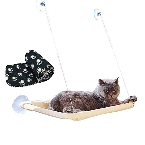 Cama Colgante con ventosas y Manta Negra para Gato