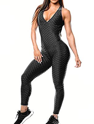 ❤️90% POLYESTER 10% SPANDEX ❤️HIGH-QUALITY FABRIC- 4 way Stretch & Non See-through Fabric.Perfect for yoga, exercise, fitness, any type of workout. ❤️SEXY HONEYCOMB TEXTURE-Make you booty looks bomb!These are special and stylish jumpsuits you could n...