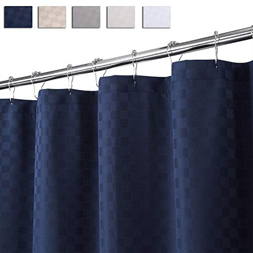 CAROMIO Extra Long Shower Curtain 96 Inches Length, Hotel Luxury 190GSM Heavy Weight Thick Fabric Shower Curtain for Bathroom Washable, Navy Blue, 72x96 Inches