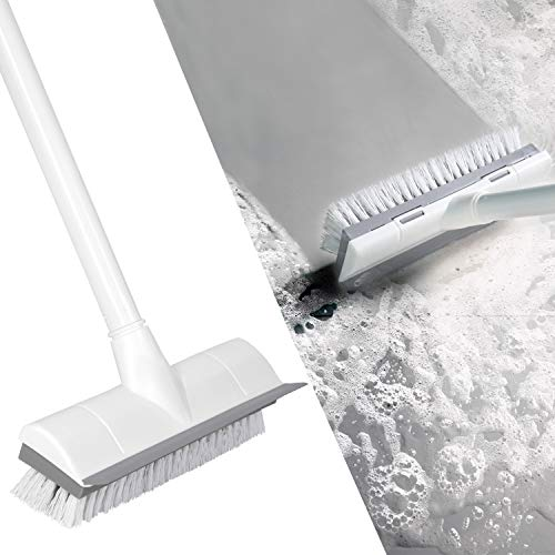 BOOMJOY Floor Scrub Brush with Long Handle 50, Adjustable Stainless Metal Handle, Scrubber with Stiff Bristles for Cleaning Tile, Bathroom, Tub, Bathtub and Patio