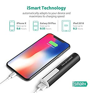 Portable Chargers RAVPower Luster Mini 3350mAh External Battery Pack Battery Bank External Phone Charger Power Pack Most Compact Power Bank with iSmart Technology for Smartphones and More (Black)