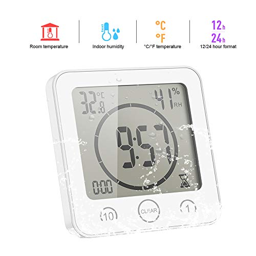 ONEVER Badezimmer-Uhr Digitale Luftfeuchtigkeit Temperatur Digitaluhr Timer Uhr LCD Display Touch Control Timer Alarm für Küche Badezimmer (Weiß)
