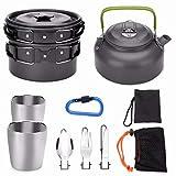 Odoland Multi-PCS Mini Kit de Casseroles Camping, Cookware Kit en Alliage d'Alu, Légère, Durable...