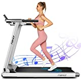 Treadmill,Treadmills for Home,Folding Electric Treadmill,Walking/Running Portable Treadmill Machine with Extra-Large Table, Bluetooth Speaker & Large LCD Monitor for Gym or Office (Silver)