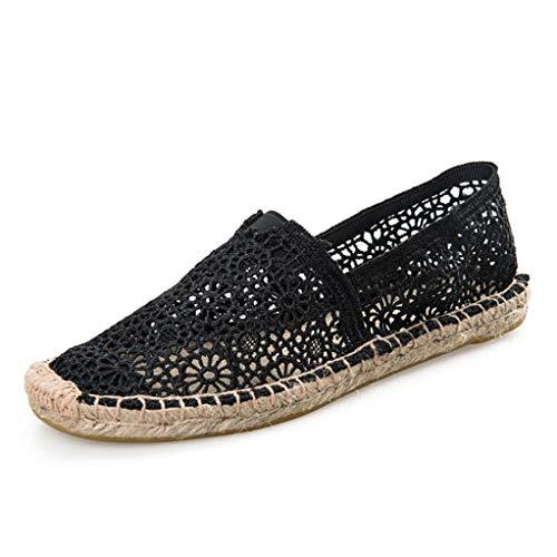 Mujeres Alpargatas Verano Recortes Caña de Encaje Cáñamo Paja Pescador talón Plano Resbalón en los Zapatos Ocasionales Zapatos de Lona Femeninos
