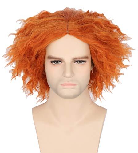 Topcosplay Peluca Sombrero Loco Corta Peluca Rizos de Color Naranja para disfraz de Halloween Carnaval
