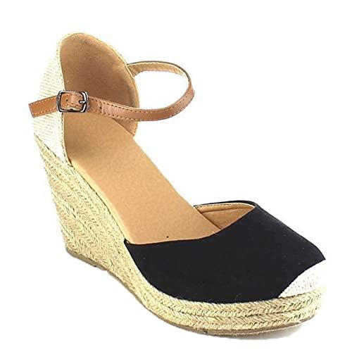 Sandalias de cuña para mujer para verano, alpargata de gamuza bohemia, tacón alto, punta cerrada, correa de tobillo ligera, sandalias de gladiador para mujer