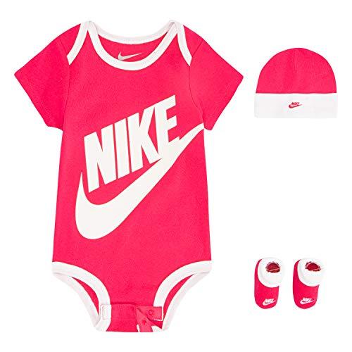 Nike Children's Apparel Hat, Bodysuit and Bootie Three Piece Set Calzini, Abbigliamento sportivo rosa, 0-6 Mesi Bimbo