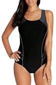beautyin Women's One Piece Swimsuits Conservative Training Athletic Swimwear Black/Gray