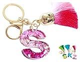 Cute Initial Tassel Keychain A-Z Letter Bling Key Chain Premium Bag Charm for Women (S keychain, Green)