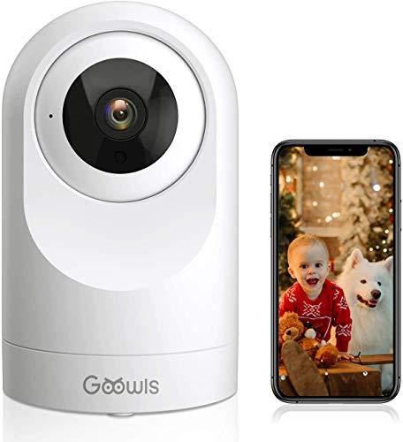 Telecamera Wi-Fi Interno, Goowls 1080P Videocamera Sorveglianza Interno WiFi per Bambini/Animali/Tata Monitor con Visione Notturna, Rotazione a 360°, Audio Bidirezionale Compatibile con Alexa