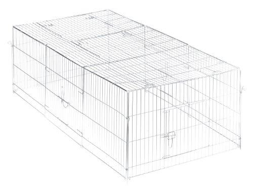 Trixie 62452 natura Freilaufgehege mit Abdeckung, verzinkt, 216 × 65 × 116 cm