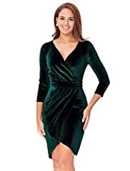 Feature: V- Neckline, 3/4 Sleeve, Midi Knee Length Style: Elegant, Smart Casual. Solid Color: Dark Green, Burgundy Stunning, lightweight stretch velvet falls from sexy V-neckline into a surplice bodice A banded waist tops a bodycon skirt with an over...