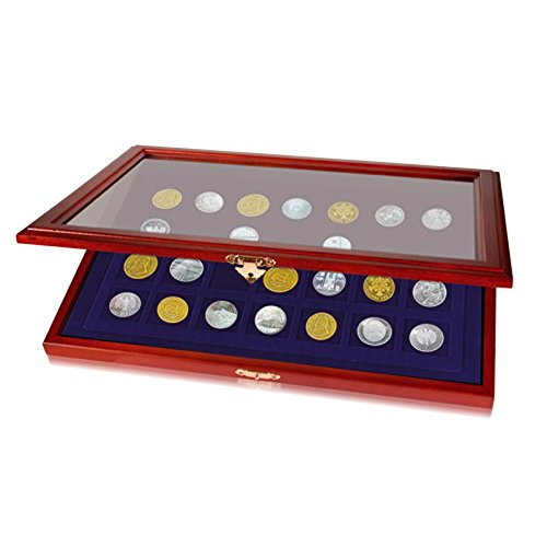 SAFE 5905 Echt Holz Münzkasette für Münzen bis 55 mm & Münzkapseln bis 50 mm | Münzkassette mit 15 Fächer Königsblaue Samteinlage | Geeignet für Euromünzen, Pokerchips Casinochips, Wertmarken, Spielgeld | Abmessungen: 375x260x30 mm