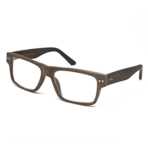 Stylish Wooden Reading Glasses for Men | Oversized, Comfy Double Hinge | +1.00 - +3.75 Magnification (Medium Brown, Textured Grain, 2.0)