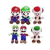 fdger 6 Unids / Set Super Mari Bros Rojo Azul Mario / Toad / Luigi Juguetes De Peluche Juegos De...