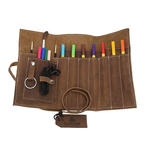 Astuccio per matite in vera pelle 20x9 cm Marrone rustico - Porta accessori arrotolabile per artigiani intelligenti per scuola, ufficio e lavoro - Custodia in pelle