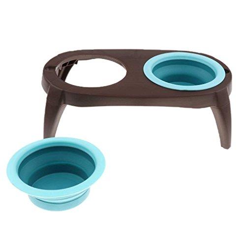 ペットボウル スタンド付き 折り畳み シリコン製 餌入れ 水入れ 猫 犬 食器