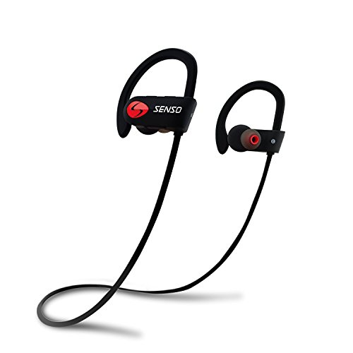 SENSO Bluetooth Headphones, Best Wireless Sports Earphones w/Mic IPX7 Waterproof HD Stereo Sweatproof Earbuds for Gym Running Workout 8 Hour Battery Noise Cancelling Headsets