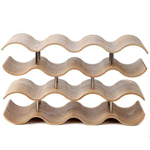 Desktop Freestanding Wine Rack Semplice 4-Tier Countertop Wave vino in legno Rack Table Top Wine...