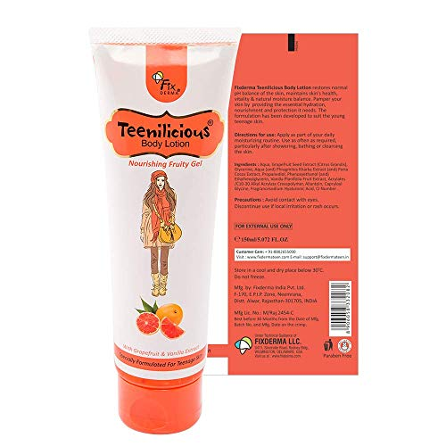 Teenilicious Girls Body Lotion Cream Gel For Dry Skin With Hyaluronic Acid, Vanilla & Grapefruit,150ml