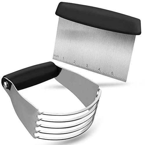 Pastry Cutter Set and Dough Scraper, Professional Stainless Steel Dough Cutter/Blender Scraper Set