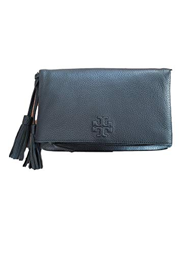 """41hEutb0bKL Black leather Tory Burch Crossbody with gold-tone hardware, single flat shoulder strap with buckle adjustment, debossed logo at front face, tonal woven interior lining and zip closure at top with additional magnetic closure at exterior. 10 ½""""W x 6""""H x 1 ½""""D."""