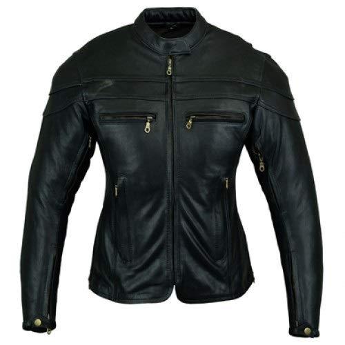 Australian Bikers Gear CE 1621-1 5, Chaqueta de moto de cuero Sturgis Tour, Mujer, Negro, 36 EU, 8 UK, Tamaño del Fabricante: S