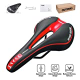 OUTERDO Bike Saddle Mountain Bike Seat Breathable Comfortable Bicycle Seat with Central Relief Zone and Ergonomics Design Fit for Road Bike and Mountain Bike (Black&Red)
