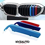 NYZAUTO M-Colored Stripe Grille Insert Trims for 2019-up BMW G20 3 Series 330i 340i Kidney Grill (8 Beams)