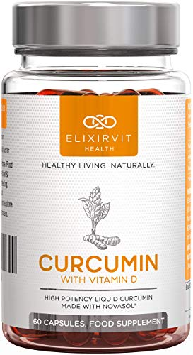 Elixirvit Mizell Curcumin Forte–185x höhere Bioverfügbarkeit als Bio Curcuma/Kurkumin– Mizellen Kurkuma Extrakt mit NovaSOL–60Flüssig Kapseln Hochdosiert
