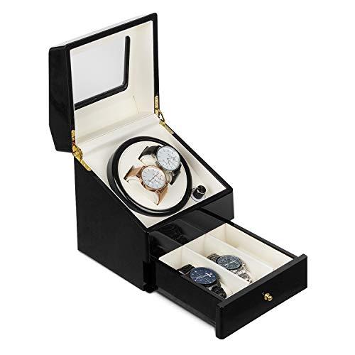 Klarstein Geneva - Uhrenbeweger, Uhrendreher, Uhrenbox, 2 Automatikuhren, 4 Modi, Links- oder Rechtslauf, Schubfach, schwarz
