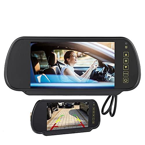 Hakeeta Specchietto retrovisore per Auto, Compatibile con Telecamera di Backup per Auto, Display LCD per Auto da 7 Pollici Resistente con Protezione da cortocircuito