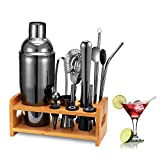 HB life Cocktail Set Cocktailhaker Gift Set de 15 Pièces de Cocktail en Acier Inoxydable avec Support pour Bambou amélioré Accessoires Bar Large 750 ML Cocktail Mixer (Noir)