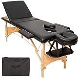 TecTake Table de massage 3 zones pliante cosmetique lit de massage portable + housse de transport - diverses couleurs au choix - (Noir | No. 401466)