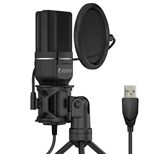 Kungber USB Mikrofon PC Desktop Gaming Mikro Plug & Play Aufnahme Mikrophone, USB PC Kondensatormikrofon (PS4,Mac,Windows 7/8/10)