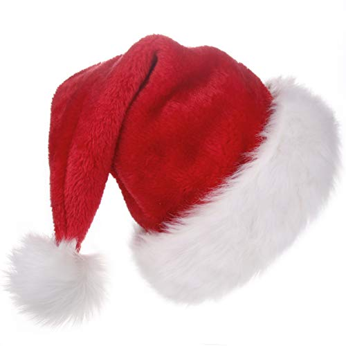 BALORAY Santa Hat for Adults Big Santa Hat Comfort Double Liner Plush Red Velvet for Christmas Gift