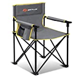 Goplus Folding Camping Chair, Portable Sport Chair w/Storage Pouch, Carrying Bag for Outdoor, 300-lb Support, Gray