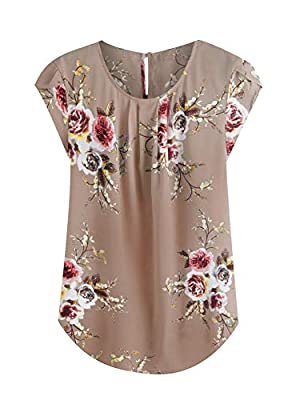 Polyester, Fabric has no stretch Feature: Floral Top, Round Neck, Cute, Pleated, Casual Blouse, Flower Print, Regular Fit, Button, Cap Sleeve, Asymmetrical, Petal Sleeve, Curved Hem Suitable for Summer, Vacation, Casual Outtings, Office, School, Home...