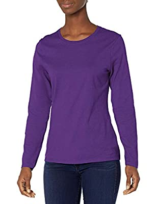 Flattering, feminine fit. Crewneck styling Cotton sourced from American farms. Preshrunk 100 percent cotton for a lasting, true fit All the comfort of Hanes, with our famous tag-free collar Available in a variety of colors This item runs small