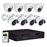 LONNKY 1080P Home Security Camera System,8CH 5MP Hybrid DVR Recorder with 2TB HDD,4PCS 2MP Outdoor Bullet Camera and 4PCS Dome Camera,Smart Motion Detection and Alerts,Easy Remote Access