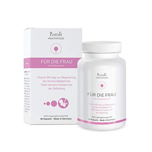 PlantaVis Für die Frau mit Kinderwunsch, rein pflanzlich, Schwangerschafts-Vitamine, Monatspackung bei unerfülltem Kinderwunsch, in Deutschland hergestellt, 52 g