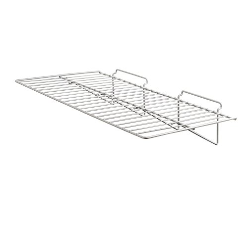Econoco Commercial Straight Shelf for Slant Wall, 24' Width x 12' Depth, White (Pack of 6)