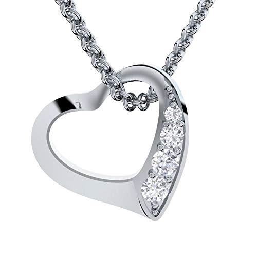 Amoonic Herzkette Silber 925 *Premium ETUI + Ich Liebe Dich Gravur* Damenkette Herz Silberkette...