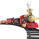 Train Set - 2020 Updated Electric Train Toy for Boys w/ Smokes, Lights &Sound, Railway Kits w/ Steam Locomotive Engine, Cargo Cars & Tracks, Birthday for 4 5 6 7 8 Years Old Kids