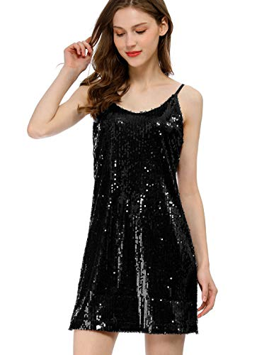 Allegra K Women's Glitter Sparkle Adjustable Strap Mini Party Sequin Dress Medium Black