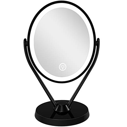 LED Lighted Makeup Vanity Mirror USB Chargeable, 1x/7x Magnification Double Sided 360 Degree Rotatable Magnifying Mirrors, 3 Light Settings Dimmable Tabletop Cosmetic Mirror for Bedroom