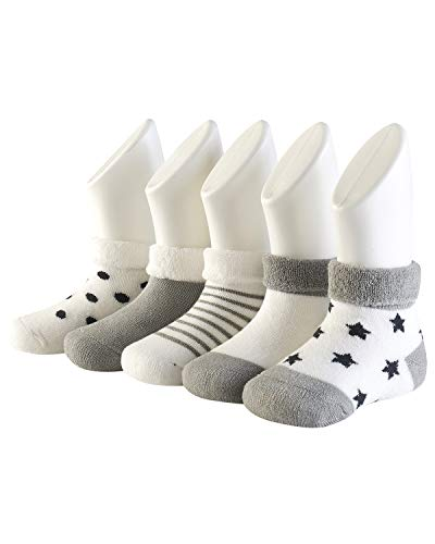 Adorel Calzini Invernali in Spugna Cotone per Bambino Confezione da 5 Grigio 6-12 Mesi (Dimensione del produttore M)